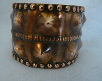 Vintage Hand Hammered Coper Bracelet Cuff