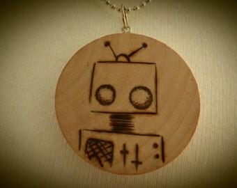 Robot Chibi Automaton Pendant Wooden Pyrography Drawing Beech Disc OOAK