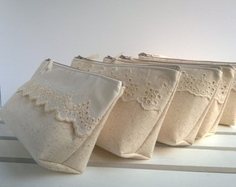 Lace Wedding Clutches, Cotton Lace Clutches, Make Up Bag, Jewelry Bag, Rustic Wedding, Bridesmaid Gifts- Set of 6 + ONE FREE