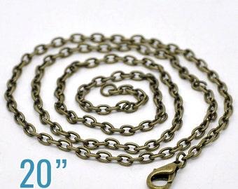 """12 Bronze Necklaces - WHOLESALE - 4x3mm - Cable Chain -  20"""" Long - Ships IMMEDIATELY from California - CH455a"""