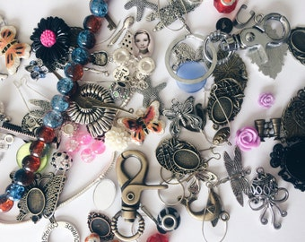 SALE Grab Bag Charms Chains Beads - SMALL - Apx 15 - 25pcs - While Supplies Last - Random Assortment of Goodies!