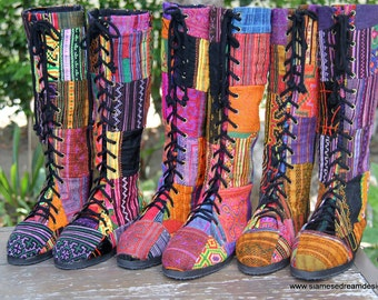 Deposit 50% To Reserve Your Size Boho Womens Boots In Colorful Vintage Ethnic Hmong Patchwork Embroidery Vegan - Sadie