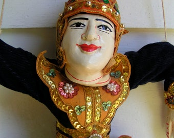 60s Hand Crafted Hand Carved Marionette Puppet Stringed Bedazzled 20 Inches Tall