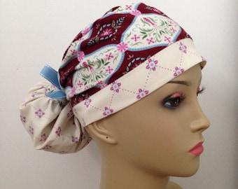 Women's Ponytail Surgical Scrub Cap - Pretty Country