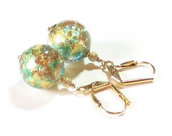 Murano Glass Aqua Gold Copper Ball Dangle Earrings, Italian Jewellery, Clip On Earrings, Gold Filled Leverback Earrings, Venetian Jewelry