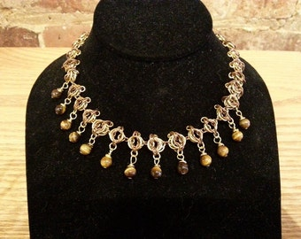 Chainmaille Necklace - Copper and Gold Circle Unit Necklace with Tiger Eye