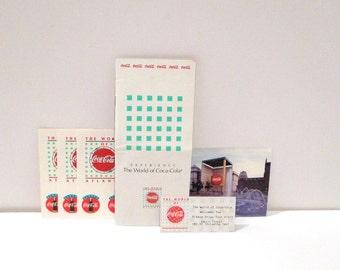 World of Coca Cola Atlanta Brochure Vintage Stickers Postcard Admission Ticket Stub 1990s