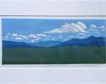 Mountain View, Campton NH Block Print