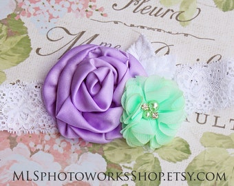 30% OFF Sweet Lavender-Mint Baby Girl Flower Headband - Hair Bow with Light Purple, Minty Green & White Lace for Babies and Girls