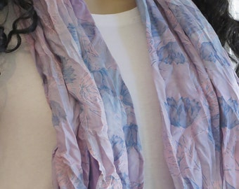 Vintage Silk scarf with soft colors , Beach Cover up