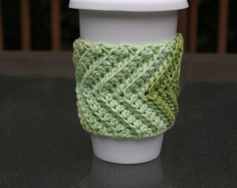 Chevron Cup Cozy in Lime Stripes - Ready to Ship
