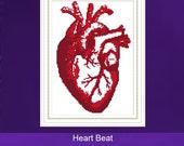 Cross Stitch Kit - Heart Beat, Modern Cross Stitch, Anatomical Heart, Human Body, Science Cross Sticth