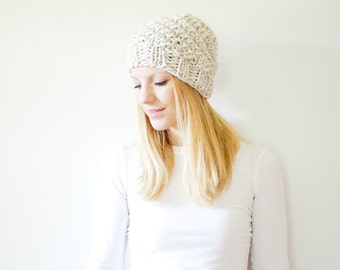 the ICARD hat - spiral chunky knit hat womens slouchy hat beanie - wheat