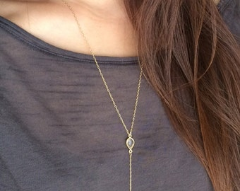Clear Quartz Gold Y Lariat Drop Spike Necklace also in Green Emerald, Smoky Quartz, Labradorite