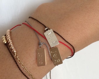 Personalized Gold Fill Tag Bracelet also available in Silver and Rose Gold Fill