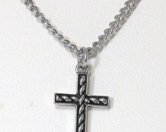 Pewter Cross Pendant on Stainless Steel chain, choose your length, Cross Charm Necklace, Cross Necklace