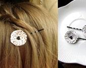 2 Tiny Black & White Polka Dot Hair Accessory for Girls Bobby Pins, White Hair Clip Women, Small Barrette, Decorative Hair Pins, hairpins