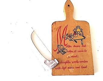 Mid Century Modern Kitchen Decor, Vintage Cheese Cutting Board, Cheese Board with Cutter, Retro Kitchen