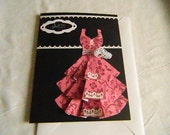 Just for you Any Occasion tiered pink dress black cardstock white dazzles