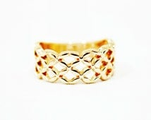 Size 5, 7.5 Infinity Ring, Infinity Gold Ring, Celtic Ring, Gold Celtic Ring, Men Ring, Women Ring, Celtic Gold Ring, Woven Ring, Gold Woven