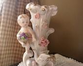 Baby with Goose Vase, Antique Victorian Era Vase, Renaissance Bud Vase, Romantic Victorian Style