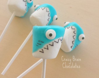 Chocolate Dipped Shark Marshmallow Pops (12)