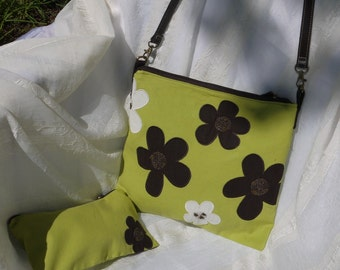 Green and Brown Flower Applique Upcycled Skirt Zip Top Satchel Shoulder Bag Again
