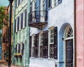 Rainbow Row Historic Homes Georgian Architecture Charleston SC Pastel Colors Fine Art Photography Print on Giclee Gallery Wrap Canvas