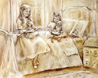 """Sisters, art print, cat, dolls, girls playing, choose size, Monotone Illustration Laurie Shanholtzer """"Playing with Dolls..and Kitty"""""""