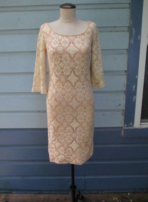 Sale 70s Lace Dress Crochet Hippie Wedding Dress Boho Off