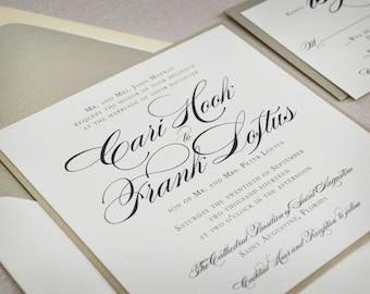 Wedding Invitation - Square - Traditional - Burgues Script