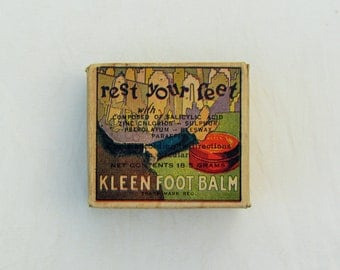 "Vintage drug store item, ""Kleen Foot Balm"" tin in original box with insert"