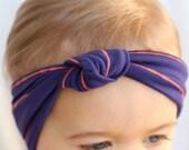 Baby Turban Headband, Navy & Coral Striped Turban Headband, Baby Hair Accessories, Baby Turbans, Baby Summer Turban