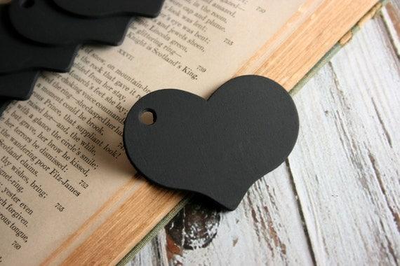 10, 25, 50 or 100 Heart Chalkboard Tags /   Chalkboard Heart Tags