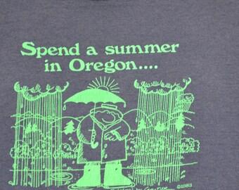 Oregon Rain Vintage T-Shirt Size Medium Portland Tee 1983