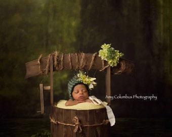 Wishing Well Photo Prop, Outdoor Photo Prop, Organic Photo Prop, Basket Photo Prop