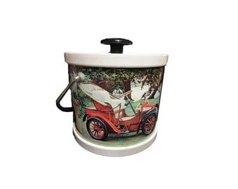 CLEARANCE Vintage Barware - Mid Century Modern Ice Bucket, Old Timer Cars, Antique Cars Ice Bucket, Automobile Barware, Cocktail, Mantique