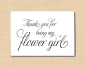 Thank You for Being My Flower Girl Printable Wedding Card, Simply Elegant: 5 x 3.5 - Instant Download