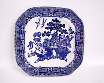 Vintage Johnson Bros Blue Willow Square Octagon Salad Plate Made in England Blue and White Dessert Plate