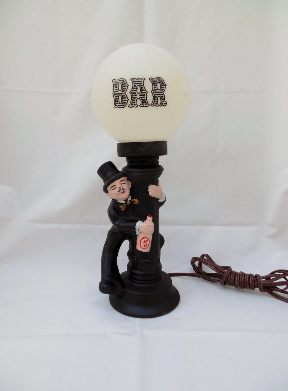 Bar Lamp Drunk Man At Light Pole Vintage Retro Bar Light