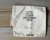 Vintage Philadelphia mint money bag / industrial style home decor / urban modern minimalist style home / upcycled canvas pouch storage bag