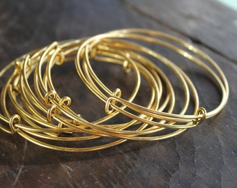 """Trendy Expandable Bangles (10) - Gold Color - 2.75"""" (68mm) - Tempered Steel - Great Beading Basic - Add a Charm Trendy Bracelet Base"""