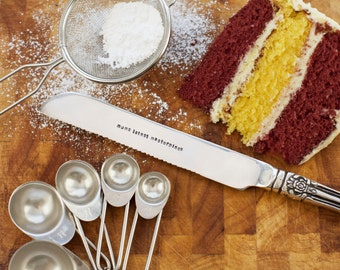 Personalised Silver Plated Cake Knife, wedding cake knife, cake knife set, silver wedding