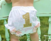 Pink and gold Birthday Bloomers-Pink and gold birthday diaper cover-gold and pink diaper cover