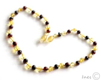 Baltic Amber Baby Teething Necklace Rounded Lemon and Dark Cherry Color Beads