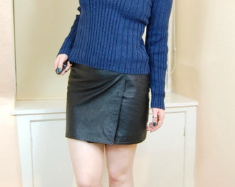 90s Grunge Classic Ribbed Knit Cotton Turtleneck Fitted Longsleeve Sweater Jumper XS / S