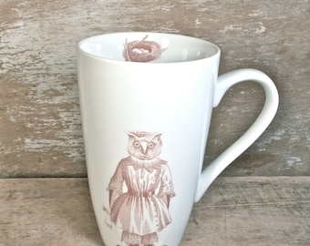 Owl Girl Mug, Sad Owl With Doll, Victorian Owl Child Coffee Cup, Owlet Nest Tree House Tea Mug, Unusual Unique Large Teacup Ready to Ship