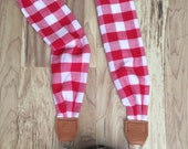 Red + White Large Gingham Scarf Camera Strap