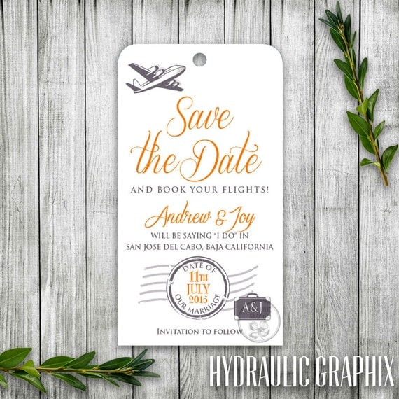 Travel Luggage Tag Save The Date Printable Travel Theme Save The - Luggage tag save the date template