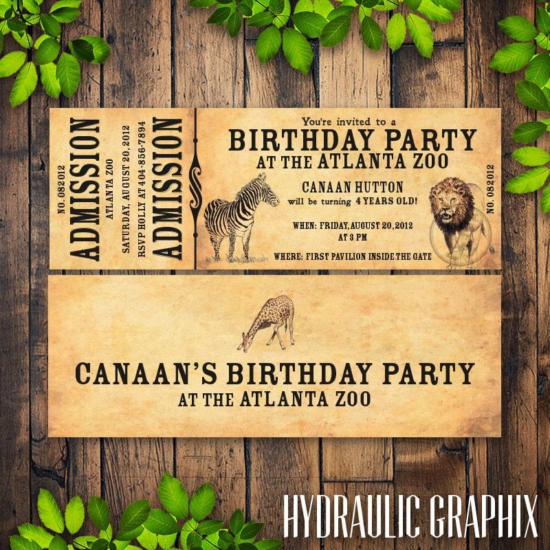 Zoo Birthday Party Invitation Printable Zoo Ticket